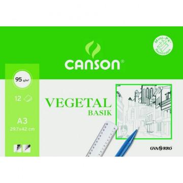 Papel vegetal A3 90/95 gramos 12 hojas Minipac Canson