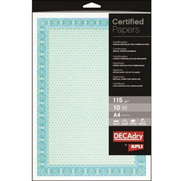 Certificados y Diplomas Azul Turquesa A4 115 gr. c